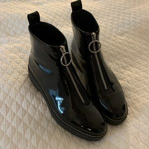 Zara Black Patent Zipper Ankle Boots
